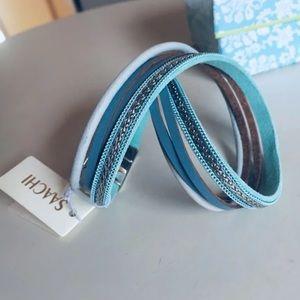 SAACHI Leather Dbl Wrap  Bracelet, NIB